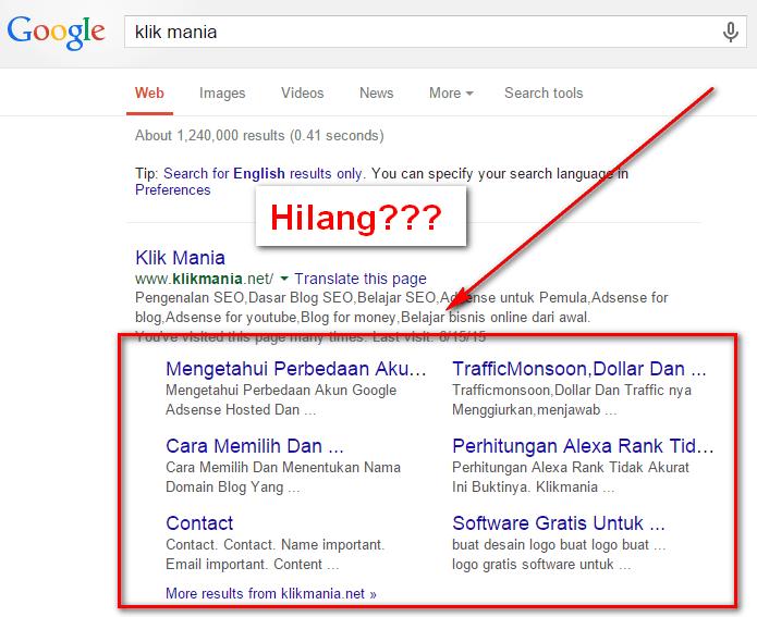 sitelink google hilang