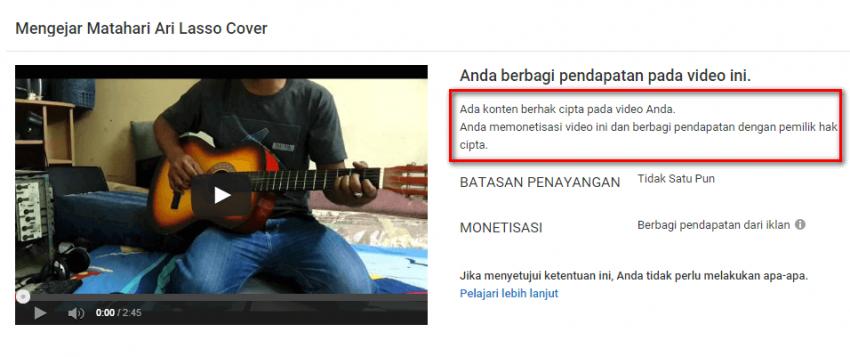 monetize cover lagu youtube