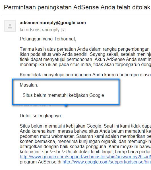 di tolak google adsense