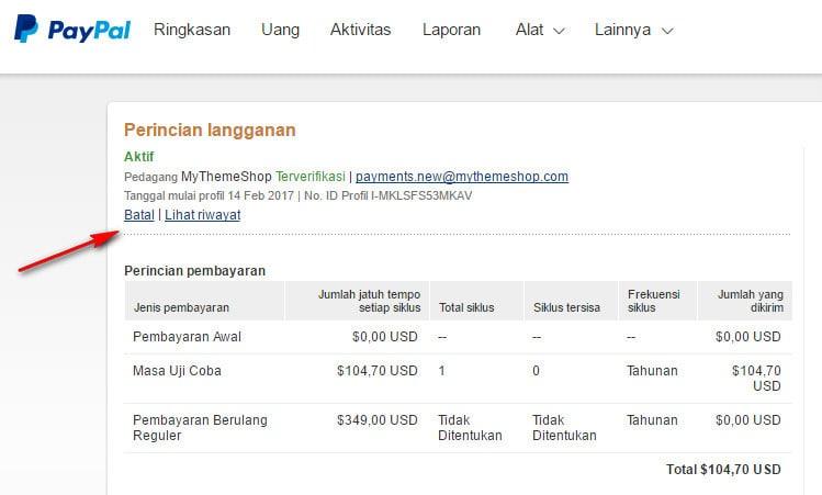 Membatalkan Pembayaran Otomatis Di Paypal