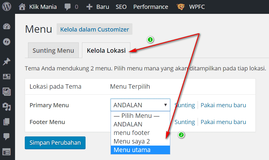 mengganti menu wordpress
