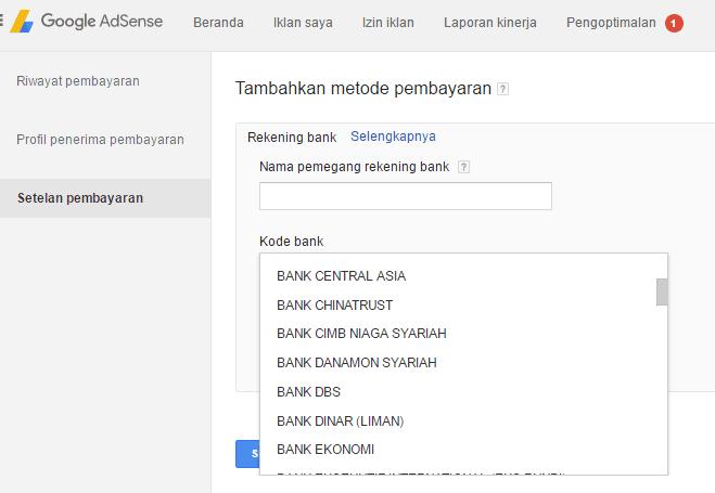 pembayaran adsense dengan transfer bank