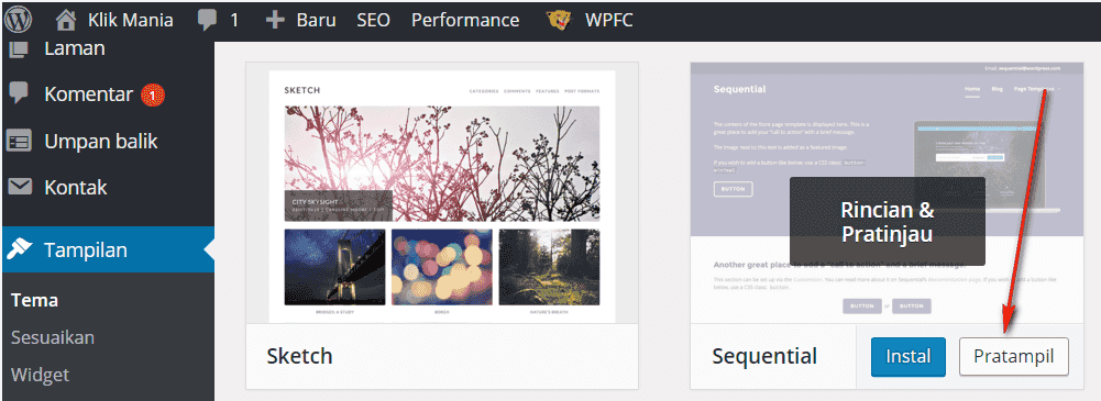 mengganti theme wordpress