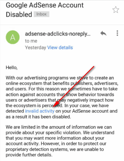 Invalid activity adsense