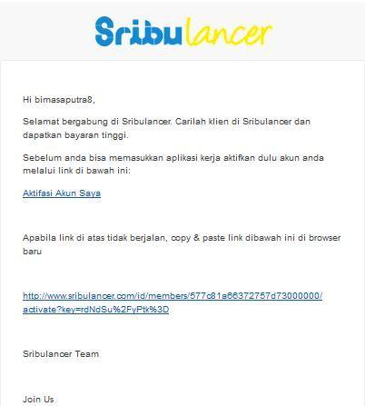 Sribulancer dapat email