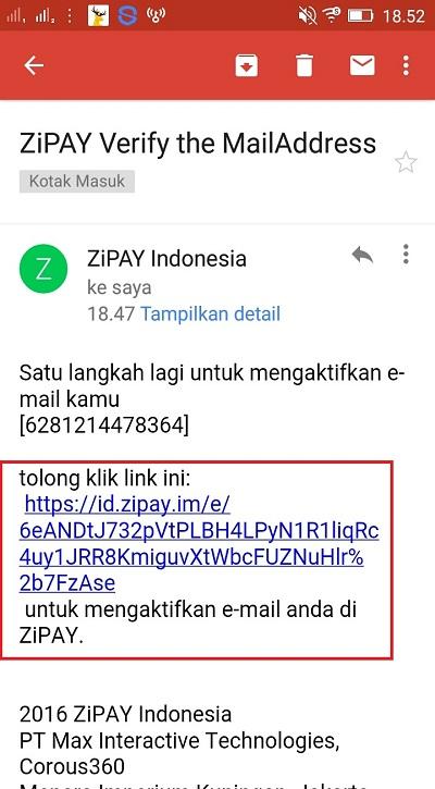 Verifikasi Email Zipay
