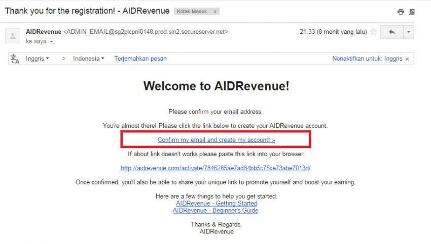Verifikasi email Aidrevenue