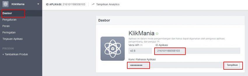melihat id aplikasi facebook