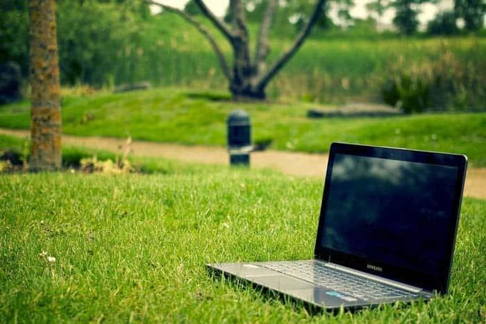 notebook in garden