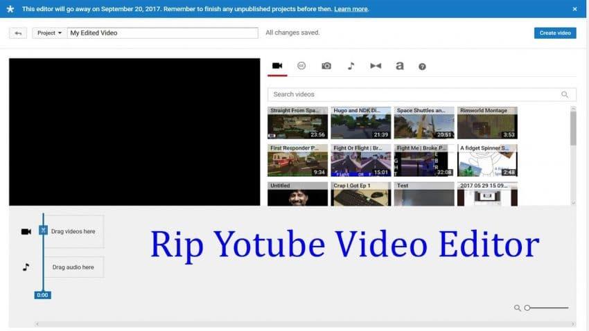 YouTube hapus fitur video editor