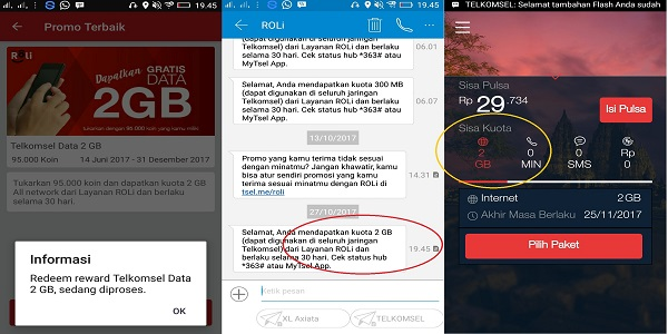 Bukti Paket data Internet Gratis Telkomsel