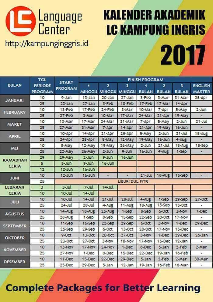 kalender akademik LC kampung inggris