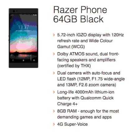 Spesifikasi Smartphone Razer