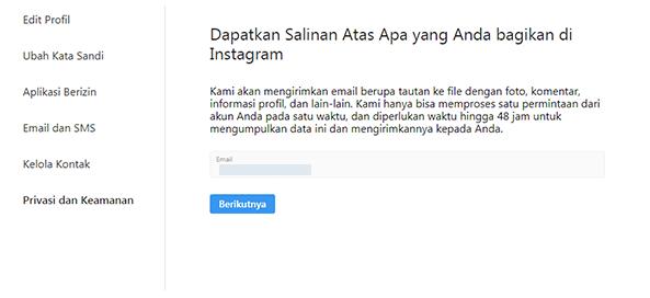 fitur unduh data instagram