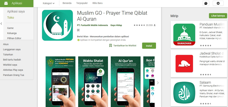Aplikasi Muslim GO di Playstore
