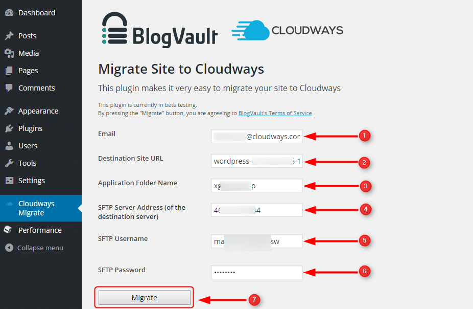 Master Credentials cloudways