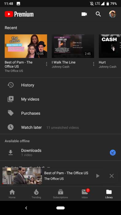 youtube dark mode android