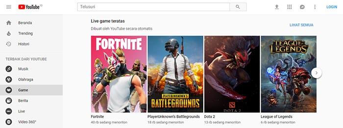 Tampilan Baru YouTube Gaming