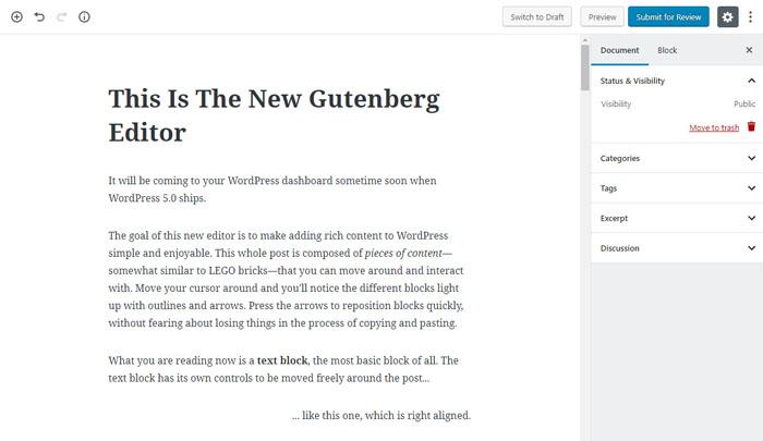 Post Editor Versi baru di WordPress