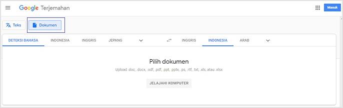 menggunakan google translate