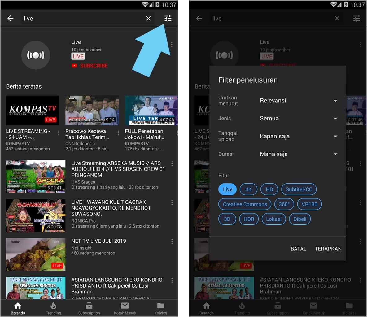 cara mencari video live streaming