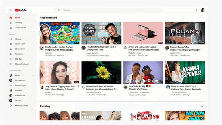tampilan youtube