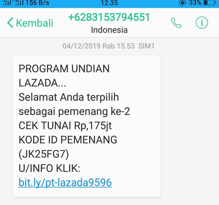 Penipuan SMS berhadiah