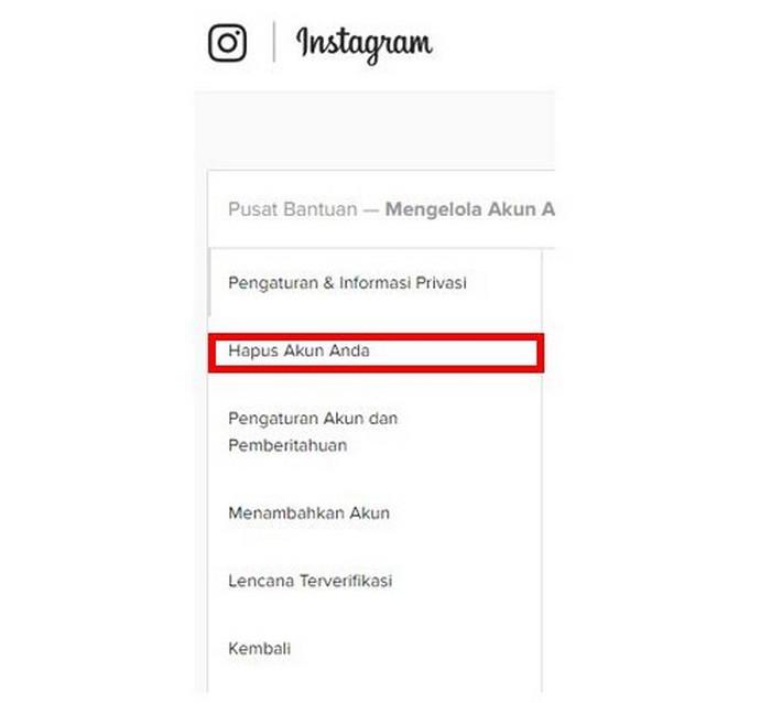 Hapus Akun Melalui Aplikasi Instagram