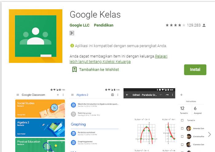 aplikasi belajar online Google Classroom