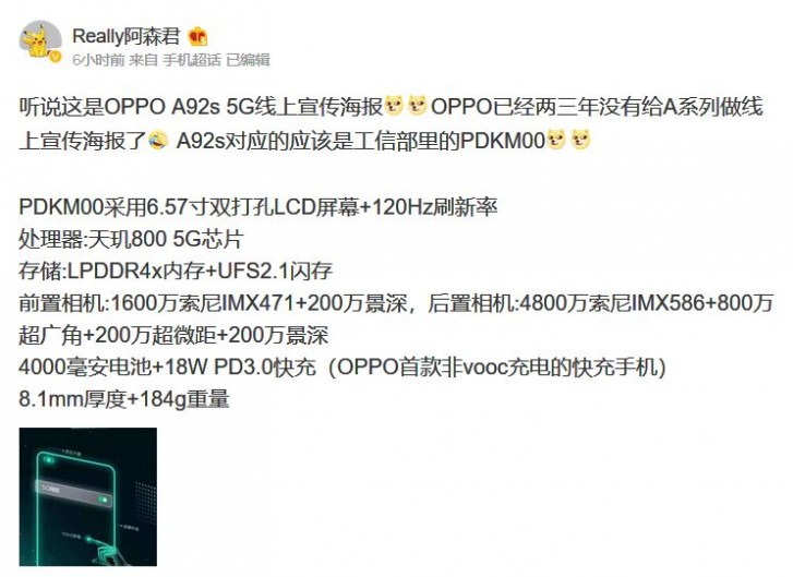 Spesifikasi Oppo A92s