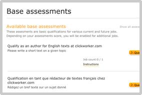 Base assessments clickworker