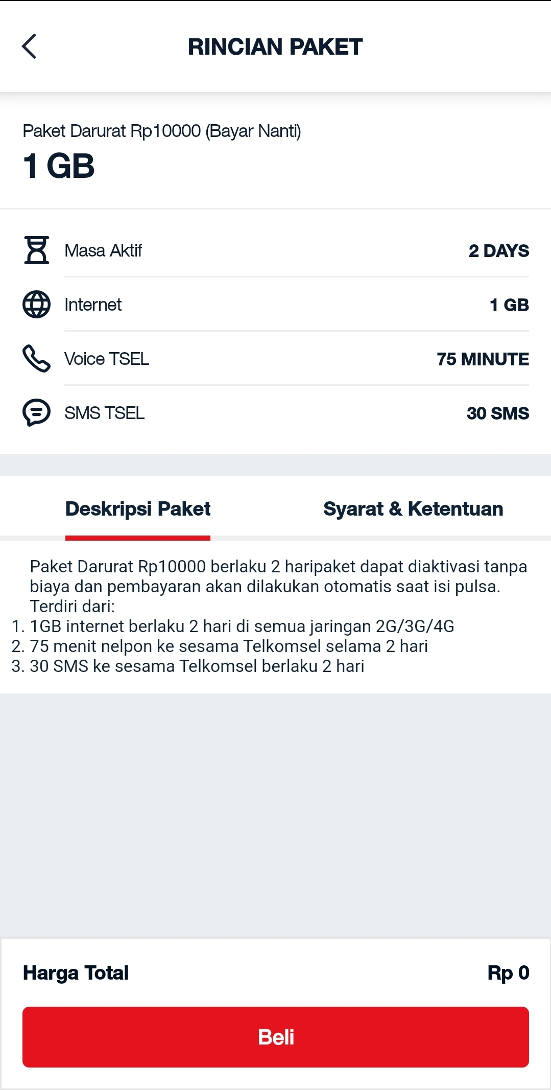 Paket internet 1 GB telkomsel